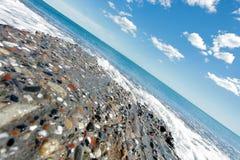 Horyzontu panoramiczny strzał Barcelona plaża Fotografia Stock