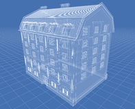 Hose. Abstract architectural 3D drawing of apartment house on blue Royalty Free Stock Photos
