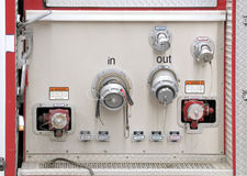 Hose Attachment Panel on a firetruck Royalty Free Stock Photo