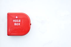 Hose box. Red hose box isolated on white background Royalty Free Stock Photos