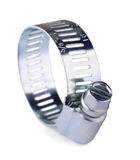 Hose clamp. Metal band hose clamp on white royalty free stock photography