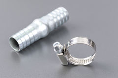 Hose clamp and rubber hose nozzle Royalty Free Stock Photography