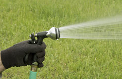 Hose nozzle. Large hose nozzle used in the garden for irrigation royalty free stock photo
