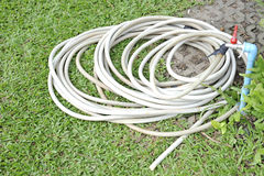 Hose pipe on a green grass. In nature royalty free stock image