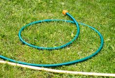 Hose for watering of lawn water Royalty Free Stock Image