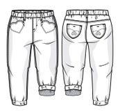 Hosen mit netten vorderen Taschen in einer Form des Herzens Stockfotos