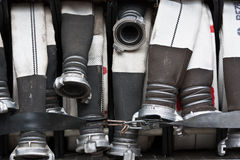 Hoses of fire truck Stock Photo