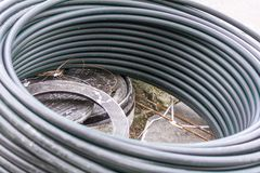 Hoses on the street during urban renovation Royalty Free Stock Image