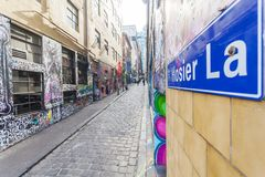 Hosier Lane i Melbourne, Australien Royaltyfri Bild