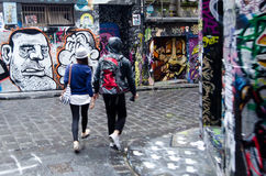 Hosier Lane - Melbourne Arkivfoto