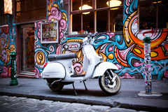 Hosier Lane in Melbourne. Melbourne, Australia - December 20 - Melbourne's famous Hosier Lane with motorcycle and graffiti on December 20th 2013 Stock Images