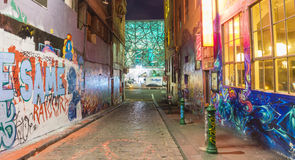 Hosier Lane in Melbourne at night Royalty Free Stock Photo