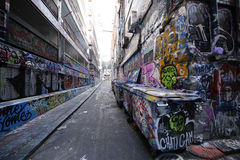 Hosier lane street art is one of the major tourists attraction in Melbourne. Stock Photos