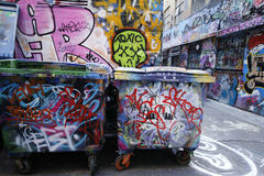 Hosier lane street art is one of the major tourists attraction in Melbourne. Royalty Free Stock Photography