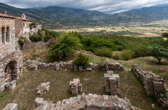 Hosios Loukas Greece. The Mount Helicon plains and the stone walls of Hosios Loukas monastery in Greece Stock Photography