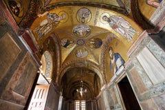 Hosios Loukas Monastery. The golden religious mosaics at the interior of Hosios Loukas Monastery in Boetia, Greece Royalty Free Stock Photography