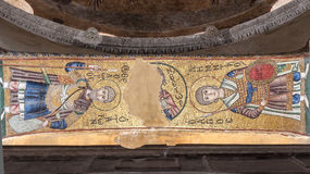Hosios Loukas Monastery. The golden religious mosaics at the interior of Hosios Loukas Monastery in Boetia, Greece Royalty Free Stock Image