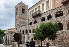 Hosios Loukas Monastery Greece. The monastery of Hosios Loukas (Holy Lucas) in Greece, a stone wall with arches and a tower in the byzantine church Stock Images