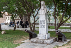 Hosios Loukas Monastery Greece. The monastery of Hosios Loukas (Holy Lucas) in Greece, two small canons, a priest with beard monument and two orthodox priests Stock Images