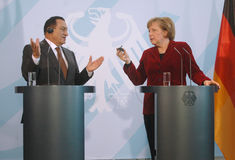 Hosni Mubarak, Angela Merkel imagen de archivo libre de regalías