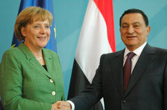 Hosni Mubarak, Angela Merkel Royalty Free Stock Images