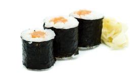 Hoso maki salmon with algae isolated on white background. Hoso maki salmon with algae isolated white background royalty free stock photos