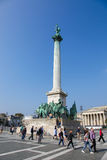 Hosok Tere或英雄正方形在布达佩斯,匈牙利 免版税图库摄影
