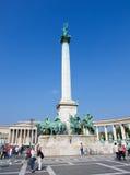 Hosok Tere或英雄正方形在布达佩斯,匈牙利 库存照片