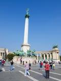 Hosok Tere或英雄正方形在布达佩斯,匈牙利 库存图片