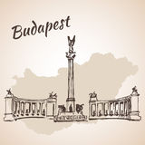 Hosok tere - the major squares in Budapest, Hungary vector illustration