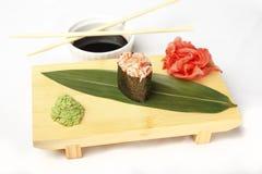 Hosomaki, Geisha poppies, scallop, tobiko caviar, mayonnaise Stock Photo