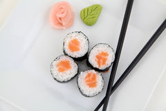 Hosomaki, salmon. Traditional japanese sushi rolls Stock Image