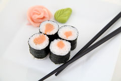 Hosomaki, salmon. Traditional japanese sushi rolls Royalty Free Stock Photography