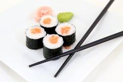 Hosomaki, salmon. Traditional japanese sushi rolls Royalty Free Stock Photos