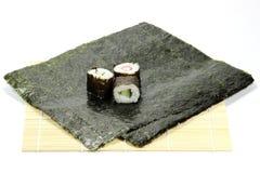 Hosomaki sushi. Freshly made hosomaki sushi isolated on white background Stock Images