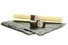 Hosomaki sushi. Freshly made hosomaki sushi isolated on white background Royalty Free Stock Image