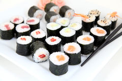 Hosomaki sushi set on white plate. Traditional japanese sushi rolls Royalty Free Stock Images