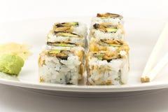 Hosomaki, Unagi maki, BBQ eel, avocado roll Stock Images