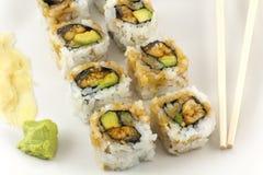 Hosomaki, Unagi maki, BBQ eel, avocado roll Stock Photo