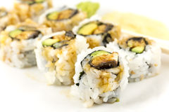 Hosomaki, Unagi maki, BBQ eel, avocado roll Stock Photography