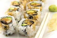 Hosomaki, Unagi maki, BBQ eel, avocado roll Royalty Free Stock Images