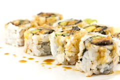 Hosomaki, Unagi maki, BBQ eel, avocado roll Royalty Free Stock Image