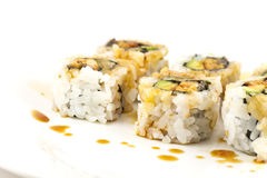 Hosomaki, Unagi maki, BBQ eel, avocado roll Royalty Free Stock Photo