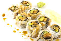 Hosomaki, Unagi maki, BBQ eel, avocado roll Royalty Free Stock Photo
