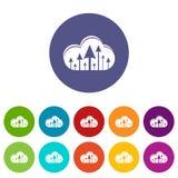 Hospedar ícones da nuvem ajustou a cor do vetor ilustração royalty free