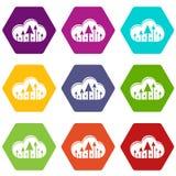 Hospedar ícones da nuvem ajustou o vetor 9 ilustração stock