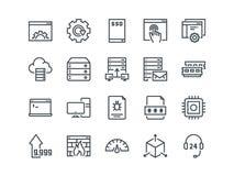 hospedar Grupo de ícones do vetor do esboço Inclui como o disco do SSD, o painel de controle, o tráfego, o guarda-fogo e o outro  ilustração royalty free