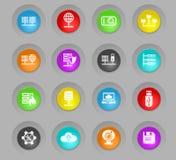 Hospedar o fornecedor coloriu o grupo plástico do ícone dos botões do círculo ilustração royalty free