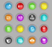 Hospedar o fornecedor coloriu o grupo plástico do ícone dos botões do círculo ilustração stock