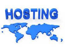 Hospedar o mundo mostra a terra Webhosting e no mundo inteiro ilustração royalty free